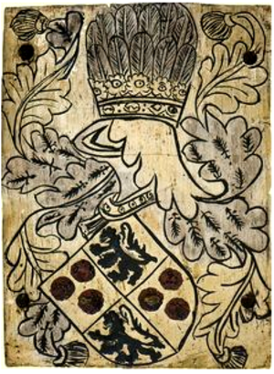 Edward Courtenay, 1st Earl of Devon (1485 creation) - Garter stall plate of Edward Courtenay, 1st Earl of Devon, KG (d.1509), showing arms of Courtenay quartering Redvers, with crest of a plume of ostrich feathers. St George's Chapel, Windsor Castle