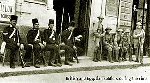 Egyptian revolution of 1919 - Egyptian and British soldiers on standby during the riots