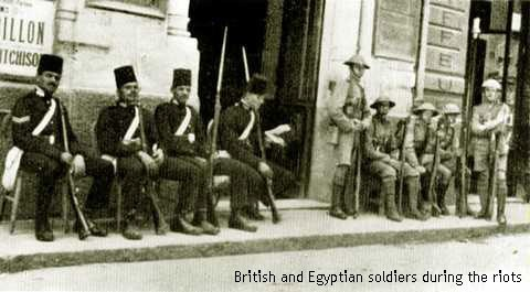 Egyptian and British soldiers during the 1919 riots