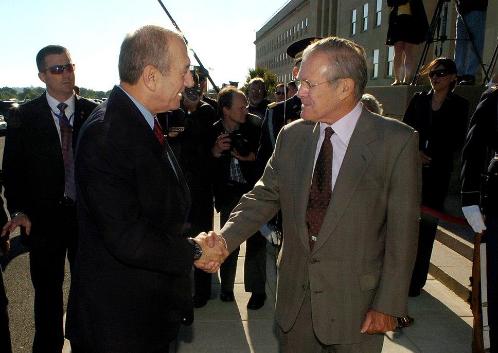 Ehud Olmert and Donald Rumsfeld 2