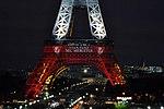 """Eiffel Tower Paris honor our victims """"Fluctuat Nec Mergitur"""" (22707193477).jpg"""