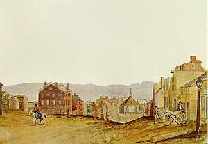 Streets of Albany, New York - State Street in 1805 looking east from Eagle Street