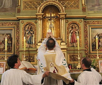 Mass (liturgy) - The Elevation of the host. This takes place immediately after the Consecration in both the Tridentine and the Ordinary-Form Mass.