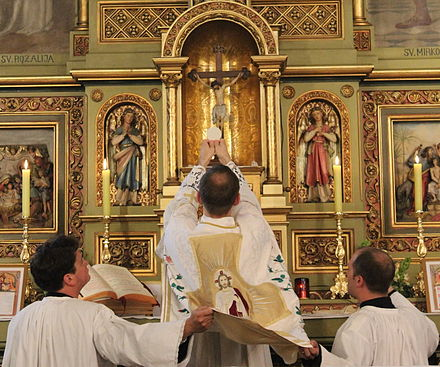 The elevation of the host began in the 14th century to show people the consecrated host.