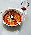 Empty tomato soup dish and wine glass.jpg