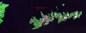 Isla de los Estados - Landsat Geocover 2000 image of Isla de los Estados, with Tierra del Fuego at the left
