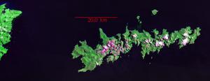 Isla de los Estados - Landsat Geocover 2000 image of Isla de los Estados, with Tierra del Fuego at the left