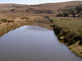 Estero de San Antonio stream in the counties of Marin and Sonoma in California