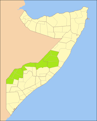 Somali Civil War (2009–present) - Area of Ethiopian operations in Somalia since their official withdrawal in January 2009.