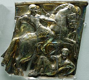 Etruscan civilization - Etruscan riders, Silver panel 540-520BC, from Castel San Marino, near Perugia