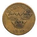 Ettöring, ompräglat mynt från 1719 - Skoklosters slott - 109381.tif