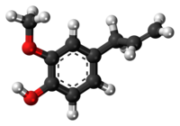 Ball-and-stick model of the eugenol molecule