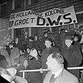 Europacup Lyn tegen DWS 1-3 te Oslo, DWS-supporters met spandoeken, Bestanddeelnr 934-6447.jpg