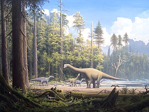 Evolution of reptiles - Mesozoic scene showing typical reptilian megafauna: the dinosaurs Europasaurus holgeri and Iguanodon, and the early bird Archaeopteryx perched on the foreground tree stump.
