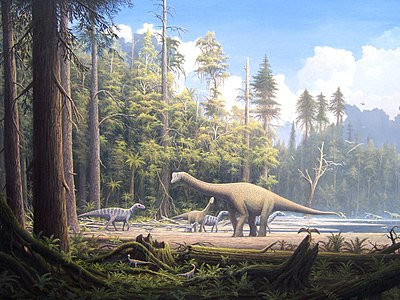 Various dinosaurs roamed forests of similarly large conifers during the Jurassic period. Europasaurus holgeri Scene 2.jpg