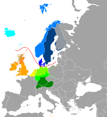 Distribution of the Germanic languages in Europe: West Germanic languages .mw-parser-output .legend{page-break-inside:avoid;break-inside:avoid-column}.mw-parser-output .legend-color{display:inline-block;min-width:1.25em;height:1.25em;line-height:1.25;margin:1px 0;text-align:center;border:1px solid black;background-color:transparent;color:black}.mw-parser-output .legend-text{} German Low German Dutch Frisian English Scots North Germanic languages Icelandic Faroese Norwegian Swedish Danish Dots indicate areas where multilingualism is common. Europe germanic-languages 2.PNG