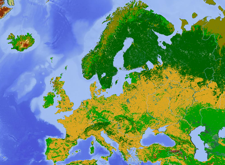 Land use map of Europe with arable farmland (yellow), forest (dark green), pasture (light green), and tundra or bogs in the north (dark yellow) Europe land use map.png