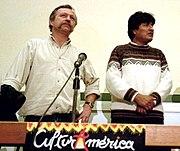 Evo Morales (right) with French labor union leader José Bové, in 2002