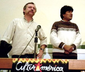 Evo Morales - Evo Morales (right) with French labor union leader José Bové in 2002