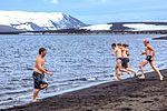 Excursion No. 12. into the old caldera of Deception Island.it's absolutely amazing what humans will do for fun.the Polar plunge, witnessed by an array of chicken photographers and a few bewildered (25715166140).jpg