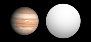 WASP-6b - Size comparison of WASP-6b with Jupiter.
