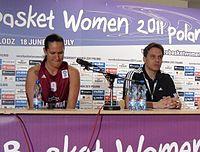 FIBA EuroBasket Women 2011 Latvia George Dikeoulakos Liene Jansone (Detail).jpg