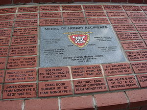 """3rd Reconnaissance Battalion - USMC 3rd Reconnaissance Battalion memorial, center marble stone is for Medal of Honor recipients, red bricks above and below: team """"Flight Time""""   Ocala, Florida"""