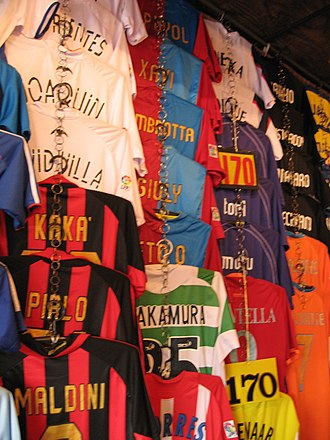 Chatuchak Weekend Market - Image: Fake football shirts