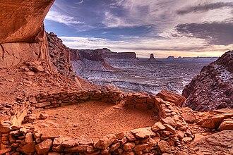 False Kiva - False Kiva stone circle in Canyonlands National Park in Utah, United States.