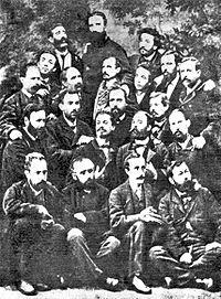 Grupo de fundadores de laPrimera Internacional, en Madrid, en noviembre de 1868.Giuseppe Fanelliaparece en el centro, arriba del todo, con una larga barba.