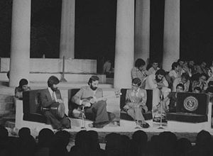 Mohammad-Reza Lotfi - Lotfi (Second from Left) Performing in Shiraz Arts Festival with Naser Farhangfar (first from left) and Shajarian, 1976