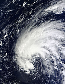 Satellite image of Subtropical Storm Fay over the open ocean