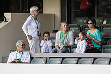Federer's family watching him in Indian Wells, 2012.