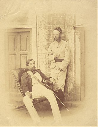 Robert Napier, 1st Baron Napier of Magdala - Napier (left) in India, photograph by Felice Beato, 1858–1859