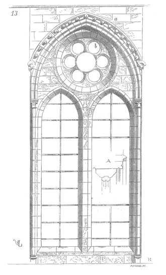 Tracery - Plate tracery in the nave aisle windows of Soissons Cathedral (c.1200).
