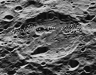 Fersman (crater) - Oblique Lunar Orbiter 5 image.  Band of dots are blemishes on original.