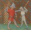 Fight of Geoffroy la Grand Dent and the giant Guedon de Guerande (BNF ms fr 12575, fol 69 - Roman de Melusine by Coudrette).jpg