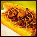 Filipino spaghetti sandwich with sausage on a garlic bread banh mi roll.jpg