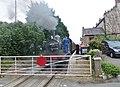 Finghall Lane railway station, J72 Class 'Joem' 0-6-0T taking on water, Wensleydale Railway, Yorkshire.jpg