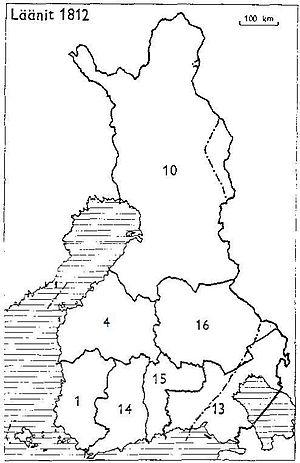 Viipuri Province - Provinces of Finland 1812:1: Turku and Pori, 4: Vaasa, 10: Oulu, 13: Viipuri, 14: Nyland and Tavastehus, 15: Kymmenegård, 16: Savolax and Karelia