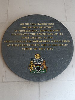 Photo of Professional Photographers Association and Anderton's Hotel, London black plaque