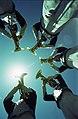 Five people playing horns, University of Texas at Arlington Music Department (10010721).jpg