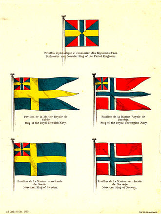 Flag of Sweden - Flags of Sweden and Norway in 1899, after the removal of the union mark from the Norwegian merchant flag. Plate published by the foreign ministry of the united kingdoms to announce the recent change. Note the dark blue color and the correct proportions of the union mark in Swedish flags.