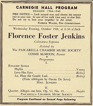 Florence Foster Jenkins - Image: Florence Foster Jenkins program