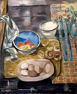 Frances Hodgkins - Image: Frances Hodgkins Still Life Eggs, Tomatoes and Mushrooms