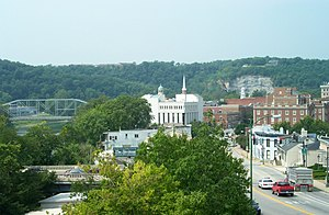 Frankfort, Kentucky - Hilltop view of modern-day Frankfort and Kentucky River (on left)