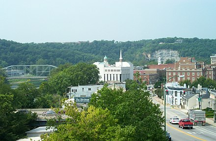 Hilltop view of modern-day Frankfort and the Kentucky River (on left) Frankfort kentucky.jpg
