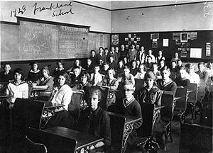 English: Students at the Frankland School, Tor...