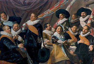 <i>The Banquet of the Officers of the St George Militia Company in 1627</i> Group militia painting (schutterstuk) by Frans Hals