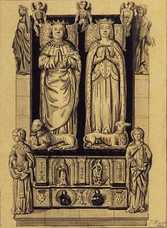 Tomb of Francis II, Duke of Brittany - 18th century illustration of the tomb